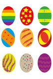 Nine easter eggs Royalty Free Stock Photography