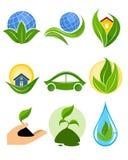 Nine eco logotypes Royalty Free Stock Photos