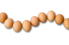Nine Egg Arranged in Curve Stock Images