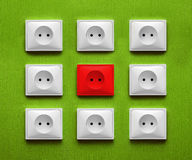 Nine electric socket Stock Photo