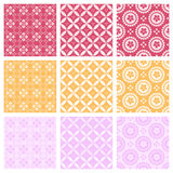 Nine elegant textile or wallpaper pattern Stock Images