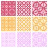 Nine elegant textile or wallpaper pattern Stock Images