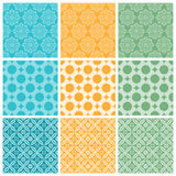 Nine elegant textile or wallpaper pattern Royalty Free Stock Images