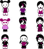 Nine Emo Peoples. Vector illustration Stock Photography