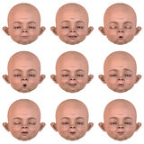 Nine Emotions. Rendered Image of a Baby face with nine emotions - with Clipping Path stock illustration
