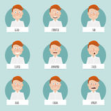 Nine emotions faces for vector characters Stock Photos
