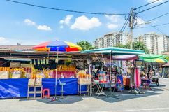 During the The Nine Emperor Gods Festival,there are some stalls selling religious prayer ornaments and other accessories.People ca Stock Photo