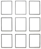 Nine empty frames on white wall exhibition Royalty Free Stock Image