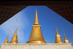 Nine-end pagoda in the temple of marble pali canon (tripitaka) Royalty Free Stock Image