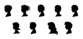 Nine faces silhouettes Stock Images
