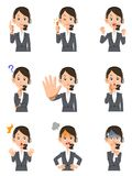 Nine facial expressions and gestures of female operators vector illustration