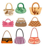 Nine female bags. With two and one handle in vintage and modern style Royalty Free Stock Image