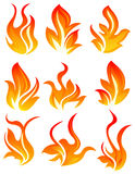 Nine fire icon. Nine simple fire icon on white background Stock Photo