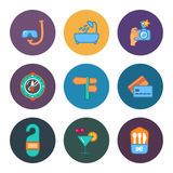 Nine flat free travel icons. This is a vector illustration of nine flat free travel icons Royalty Free Stock Photography