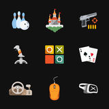 Nine flat game icons Stock Image
