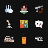 Nine flat game icons Stock Image