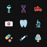 Nine flat medicine icons. This is a vector illustration of nine flat medicine icons Royalty Free Stock Photos