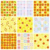 Nine of floral backgrounds. stock illustration
