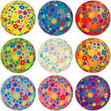 Nine Floral Balls for your designs Royalty Free Stock Photos