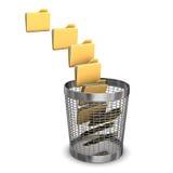 Nine Folders Wastebasket. A batch of folders with a wastebasket on the white background Stock Image