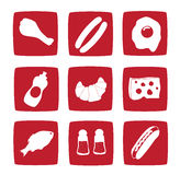 Nine food icons Royalty Free Stock Images
