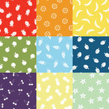 Nine Fruit Patterns Stock Images