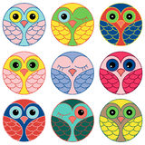 Nine funny owl faces in a circle Stock Photos
