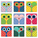 Nine funny owl faces in square shapes Royalty Free Stock Photos
