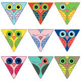 Nine funny owl faces in triangular forms Royalty Free Stock Photo