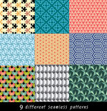Nine geometric patterns seamless. Nine geometric patterns can be tiled and are easy to change color vector illustration