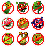 Nine germs and prohibition signs Royalty Free Stock Image