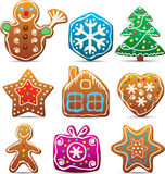 Nine gingerbread cookies Stock Image