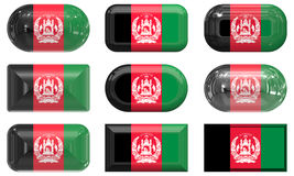 Nine glass buttons of the Flag of afghanistan Royalty Free Stock Photos