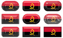 Nine glass buttons of the Flag of angola Royalty Free Stock Images
