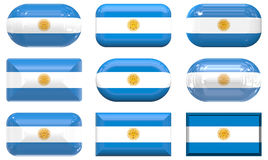 Nine glass buttons of the Flag of Argentina Stock Image