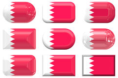 Nine glass buttons of the Flag of Bahrain Royalty Free Stock Images