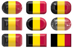 Nine glass buttons of the Flag of Belgium Royalty Free Stock Photo