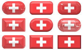 Nine glass buttons of the Flag of Switzerland Royalty Free Stock Photography