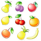 Nine glossy fruit icons Stock Photography
