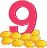 Nine gold coins Stock Images