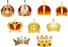Nine gold crowns isolated on white Stock Photos