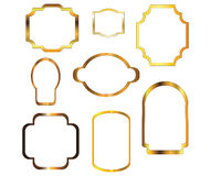 Nine gold frames Royalty Free Stock Photo