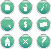 Nine green circle-shaped web buttons Royalty Free Stock Images