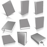 Nine grey empty book template Stock Photo
