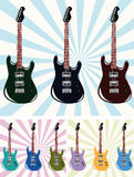 Nine guitars. Illustration with nine guitars of the miscellaneous colour on miscellaneous background Royalty Free Stock Images