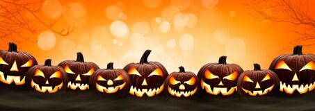Free Nine Halloween, Jack O Lanterns, With Evil Spooky Eyes And Faces Royalty Free Stock Images - 196394969
