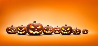 Free Nine Halloween, Jack O Lanterns, With Evil Spooky Eyes And Faces Stock Image - 196395011