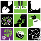 Nine halloween square icons collection Royalty Free Stock Photos