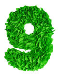 Nine. Handmade number 9 from green scraps of paper Royalty Free Stock Photography