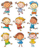 Nine Happy Kids Dancing or Jumping stock illustration